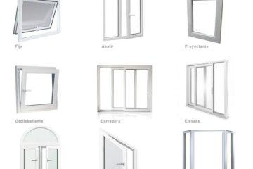 diferentes tpos de ventanas fijo, abatible, proyectante, oscilobatiente, corredera, medio punto.
